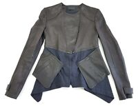 Thakoon Paneled Black Leather Jacket Womens Size 2