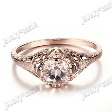 Solid 10k Rose Gold Round 5.5mm Morganite Filigree Retro Engagment Wedding Ring
