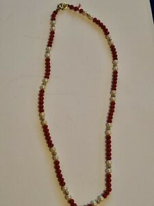 Vintage KREMENTZ Red Murano Glass & Seed Pearl Necklace