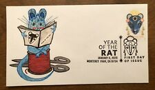 Year of The Rat 2020 FDC First Day Cover Laser Cachet of my original art Sew rat