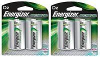 Energizer NH50BP-2 Rechargeable D Nimh Batteries (2 Packs of 2 = 4 Batteries)