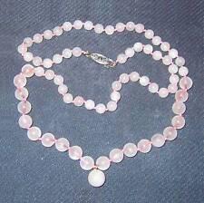 "Necklace of graduated rose quartz beads w knots 23"" B18"