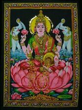 "Krishna Mart India Cotton Fabric Goddess Laxmi / Lakshmi 30"" X 43"" Tapestry Indi"