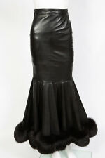 Jitrois Black Lambskin Leather Fox Fur Hobble Mermaid Skirt Sz XS 0 - 2