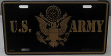 U.S. Army aluminum License plate United States Usa Gold on Black