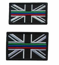 Triple Thin Blue Green Red Line Emergency Service Union Jack Patch Badge SET