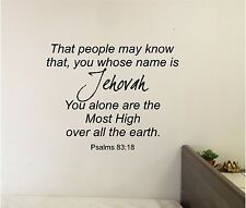 Jehovah You alone are Most High Wall lettering Mural Vinyl Decal Bible Verse