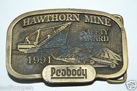 WOW Vintage 1991 PEABODY Safety Award Hawthorn Mine Belt Buckle Limited RARE