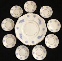 "Antique Chelsea Ware Blue Thistle - 9"" Plate & 9 4"" Salt Dishes w Gold Trim RARE"