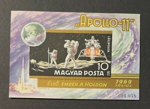 Hungary Scott C295 Mint, Hinged Imperf Cats $30 for MNH. Apollo 11