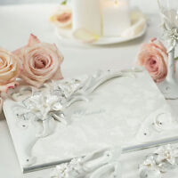 Sculptural White Tiger Lilies Wedding Guest Book