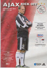 Programma / Programme Ajax Amsterdam v AZ Alkmaar 12-08-2012