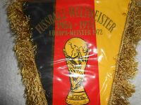 DEUTSCHLAND WELTMEISTER EUROPAMEISTER Fussball Wimpel 1974 rar selten Rarität