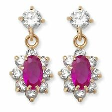 9ct Cubic Zirconia Ruby Drop Earrings