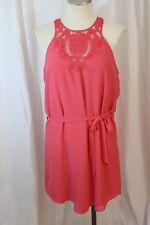 Naked Zebra Coral Pink Sleeveless Crochet Neck Drawstring Waist Dress Size L