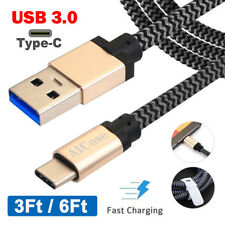 Braided Type-c USB 3.0 3a Fast Charger Cable Data Sync Cord F Samsung Note 8 S8 Black/white 2m / 6ft 2 Pack for Huawei Mate 9