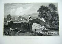 1830 Antique Print ~ Rhayader Bridge (Rhaiader) Radnorshire - Gastineau