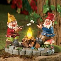 Pair of Gnomes Roasting Marshmallows Over Solar Lighted Campfire Garden Statue