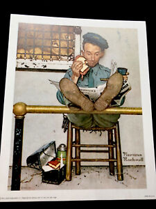 """Print Norman Rockwell 1954  """"Lion And The Zookeeper"""" 8"""" X 10"""". Good Condition"""