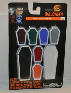 Halloween Grease Makeup Kit 8 piece 1.18 oz Make-Up Coffin Costume Party NEW