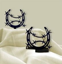 Wrought Iron Curtain Tie Backs Pair Of 2 Horseshoe Horse Barbed Wire Home Decor