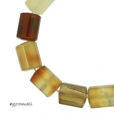 """14 Natural Carnelian Tube Faceted Beads 11x14mm 7.8""""  #54132"""
