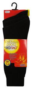 LADIES REDTAG TOG 1.2 THICK WINTER WARM BLACK THERMAL SOCKS 41B259 PACK OF 3