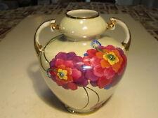 Vivid Florals Decorated VTG Noritake 2 Handled Porcelain Vase