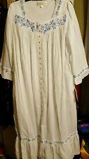 Eileen West white 100% cotton long pocket nightgown w/ruffle hem  Large nwt
