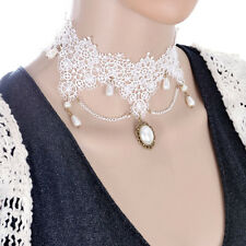 CHOKER Necklace White Women Vintage Gothic White Drop pendent Pearls