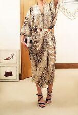 snakeskin cream brown glamorous designer kimono evening cocktail dress 14 16