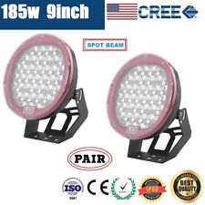 2x 9inch 185W CREE LED DRIVING LIGHT OFF ROAD SPOTLIGHT WORK AUTO LAMP 4WD SUV