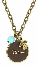 "Chain Necklace with Leather Charm, BELIEVE, 22"", by Monarch Inspirations"