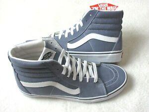 Vans Men's Sk8-Hi Blue Granite True White Canvas Suede Skate shoes Size 9.5 NEW