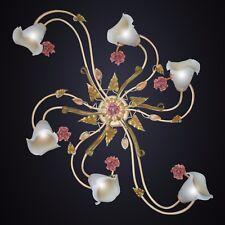 Plafoniera Lampadario 6L arte povera classico ferro battuto calle foglie rose