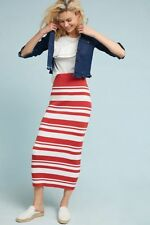 Anthropologie Simone Midi Skirt Striped Cotton Column Elastic Waist Callahan XS