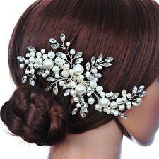 NEW Pearl Fabric Flowers Rhinestone Bridal Wedding Crown Floral Headdress Tiara