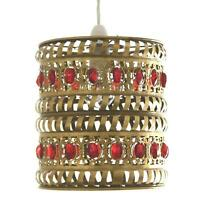 Red Jewels in Antique Brass Moroccan Pendant Shade by Loxton Lighting
