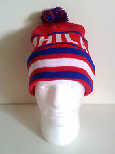 PHILADELPHIA (Red/Blue) Striped Knit Beanie Cuff Skull Cap