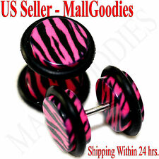 1245 Fake Cheaters Illusion Faux Ear Plugs 16G Pink Zebra Stripes Print 00G 10mm