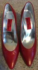 Pumps Charles Jourdan Red Leather Pointy Toe High Heel Sexy Ladylike Shoes 7M