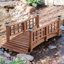 "Brown Finish Wood 72"" Garden Bridge Led Lights Outdoor Yard Lawn Landscaping"