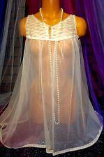Vintage Peignoir Nylon Babydoll Gown Chemise Nude Chiffon Victorian Lace S M L