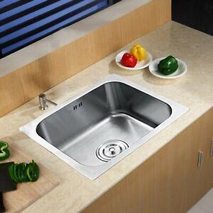 Stainless Steel Kitchen Sink Catering Single Bowl Topmount + Waste Plumbing Kit