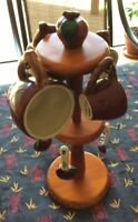 Vintage Stoneware Apple Measuring Cups & Spoons With Wood Rack Holder 1970s Rare