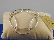 """Ralph Lauren Polished Silvertone 1 1/4"""" Oval Link Etched Connector Bracelet $48"""