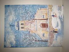 Claude BOUSSIER - EGLISE DES ROUSSES - 1987 - Gouache sur papier - ART NAIF