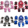 7Pcs Set Children Skate Cycling Bike Safety Helmet Knee Elbow Pad Set Boys Girls