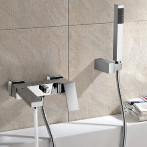 Square Chrome Wall Mounted Bath Filler Shower Mixer Tap Bathroom Single Lever