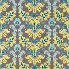 Yellow Blue Taupe Printed Linen Fabric Susa Osborne and Little Sold by Meter